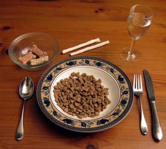 Сухой корм подан к столу
