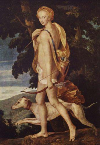 Диана-охотница, первая школа Фонтенбло, 1550-60, Лувр